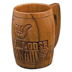 "Hawaiian Wood Mug Hang Loose 5"" Tall"