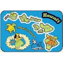 Hawaii Kid's Translucent Placemat Blue Island Chain 4 Pack