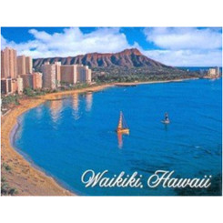Hawaii Badge Magnet Waikiki Beach