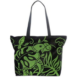 Mesh Beach Tote Bag Honu Turtle Black