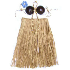 "Hawaiian Hula Grass Skirt Set Coconut Bikini Top Natural Adult Large 36"" Waist 28"" Long"
