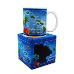 Hawaiian Coffee Mugs 2 Pack Islands Map Blue
