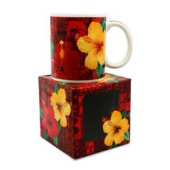 Hawaiian Coffee Mugs 4 Pack Hibiscus Aloha