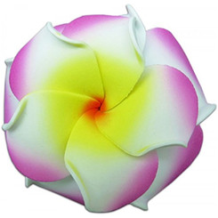 Foam Double Petal Flower Medium Hair Clip Plumeria Lilac, White, Yellow