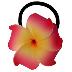 Foam Ponytail Hair Flower Plumeria Red, Orange