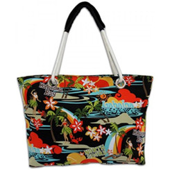 Island Impressions Beach Tote Bag Hula Orange, Black