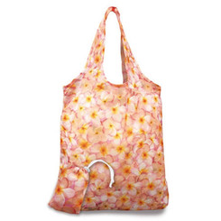 2 Foldable Reusable Hawaii Shopping Tote Bags Plumerias Pink