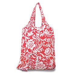 2 Foldable Reusable Hawaii Shopping Tote Bags Pareo Hibiscus Red