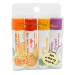 Hawaii Forever Florals Flavored Lip Balm Stick 4 Four Packs Assorted