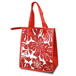 Small Non-Woven Insulated Lunch Bags Hibiscus Floral Red