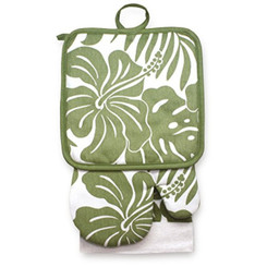Kitchen Set Hibiscus Floral Olive