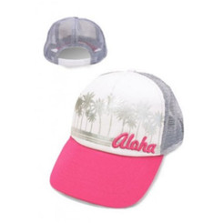 Hat Island Aloha Palm Pink, Gray, White