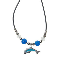 Rubber Cord Necklace Pewter Enamel Dolphin