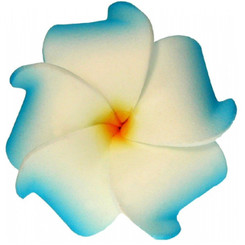 Foam Flower Small Hair Clip Plumeria Blue & White