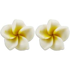 Fimo Flower Pierced Petite Earrings Plumeria White & Yellow