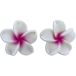 Fimo Flower Pierced Petite Earrings Plumeria White & Pink