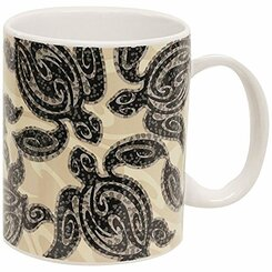 Stoneware Coffee Mugs 4 Pack Tribal Honu Turtle 11 oz.