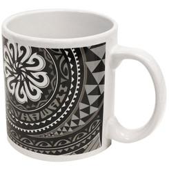2 Pack Hawaiian Stoneware Coffee Mugs 20 oz. Tribal Fish Hook