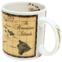2 Pack Hawaiian Stoneware Coffee Mugs 20 oz. Island Chain Map