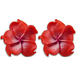 Fimo Flower Pierced Small Earrings Plumeria Curly Pearlized Ruby