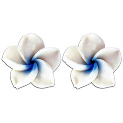 Fimo Flower Pierced Small Earrings Plumeria White With Blue
