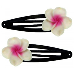 Fimo Hair Flower Snap Clip Set Of 2 Plumeria White & Pink