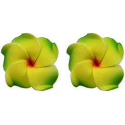 Small Foam Flower Pierced Earrings Plumeria Green & Yellow