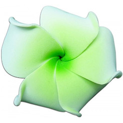Foam Flower Small Hair Clip Plumeria White With Green