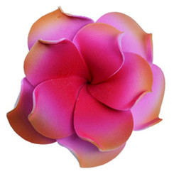Foam Double Petal Flower Medium Hair Clip Plumeria Red