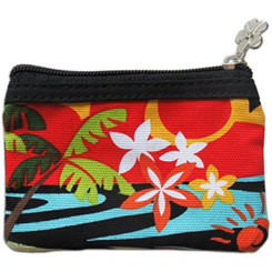 "Tropical Hula Hawaii Coin Purse 3.5"" X 5"""
