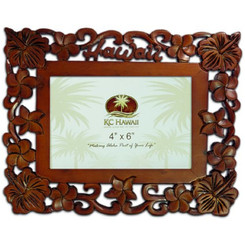 "Hawaii Wood Carved Picture Frame 4"" X 6"""