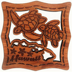 Hawaii Wood Laser Cut & Etched Coasters Honu Turtles Islands