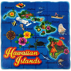 Hawaii Sandstone Coasters Set Of 4 Isles Map