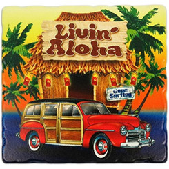Hawaii Sandstone Coasters Set Of 4 Hut & Woody Living Aloha