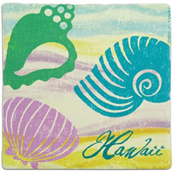 Hawaii Sandstone Coasters Set Of 4 Seashells