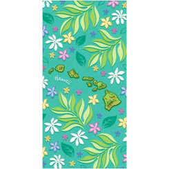 Hawaiian Beach Towel Floral Island Chain