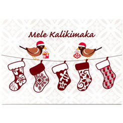 Hawaiian Quilt Stockings & Mynah Bird Christmas Cards 12 Pack