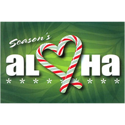 Candy Cane Aloha Heart Hawaiian Christmas Cards / 10