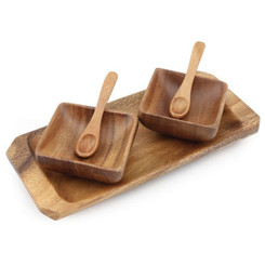 "Acacia Wood 2 Container Square Condiment with Tray 8"" x 2"" x 8"""