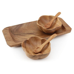 "Acacia Wood 2 Container Hibiscus Condiment with Tray 8"" x 2"" x 8"""