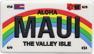 "Hawaii Magnet Rubber Maui License Plate 3½""W x 2""H x ¼""D"