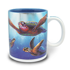 2 Pack Hawaiian Coffee Mugs 14 oz. Turtles In Light
