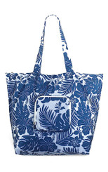 Hawaiian Deluxe Foldable Travel Tote Bag Hibiscus Floral Blue