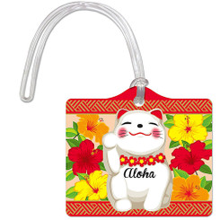 Die Cut ID Luggage Tag Hawaii Aloha Lucky Cat