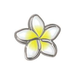 Hawaiiana Decal Silver & White Sticker Plumeria