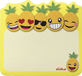6 Pack Hawaiian Style Stick 'n Notes Posteez Die Cut Pineapple