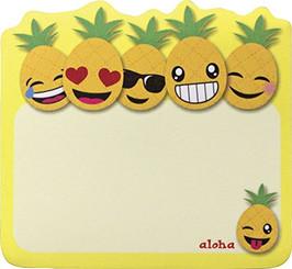 6 Pack Hawaiian Style Stick 'n Notes Posteez Die Cut Pineapple