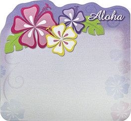 6 Pack Hawaiian Style Stick 'n Notes Posteez Die Cut Aloha Floral