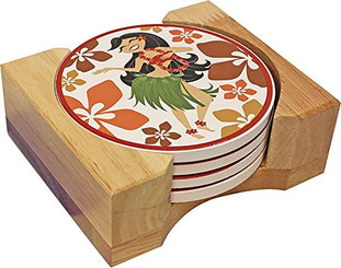 Hawaiian Ceramic Coaster Set Hula Girl