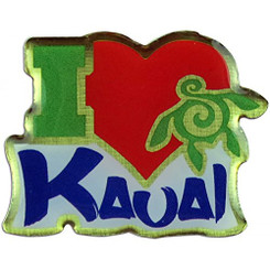 Hawaiian Lapel or Hat Pin I Love Kauai
